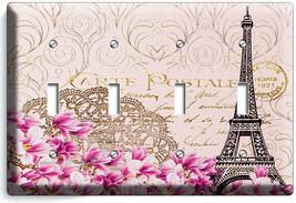 VINTAGE EIFFEL TOWER MAGNOLIA FLOWERS PARIS POST CARD 4 GANG LIGHT SWITC... - $19.99