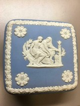 Vintage Blue Wedgwood Jasperware Square Trinket Box Greek Figures - $42.56