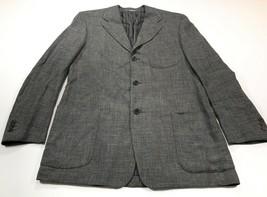 Salvatore Ferragamo 42L Gray Wool Linen Suit Jacket Coat 3-Button No Vent - $149.99