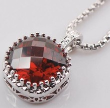 JEWELRY PLAZA 925 Solid Sterling Silver Garnet HUGE Pendant Necklace [PE... - $27.72