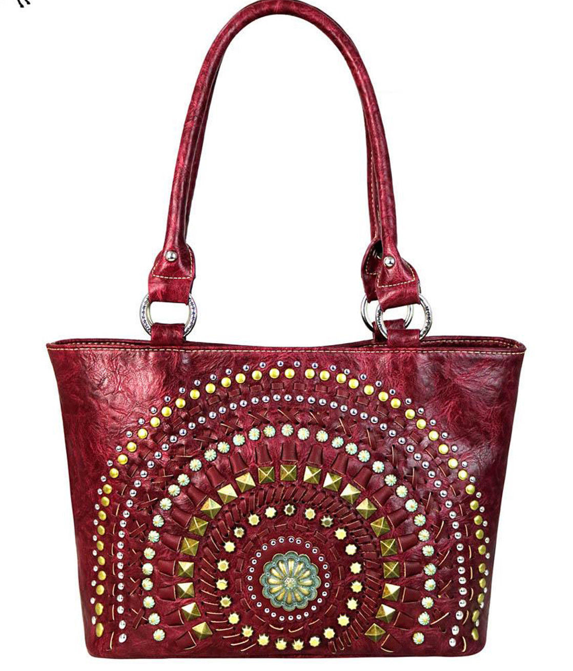 Western Studded Concho Shoulder Purse Handbag Burgundy Red Montana West