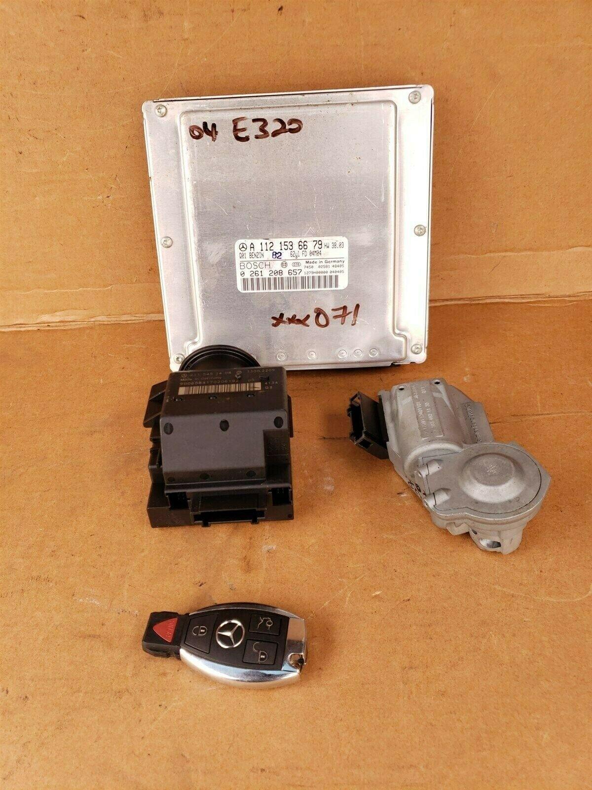 04 Mercedes W211 E420 Engine Computer Ignition FOB ECU EIS ISL Set A1121536679