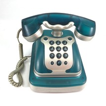 Art Deco Telephone Aqua with Silver Trim in Working Condition Oversized - $28.71