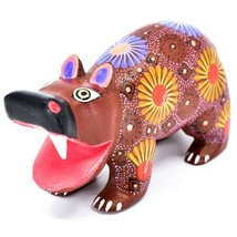 Handmade Oaxacan Alebrijes Copal Wood Carving Folk Art Hippopotamus Hippo Figure image 2