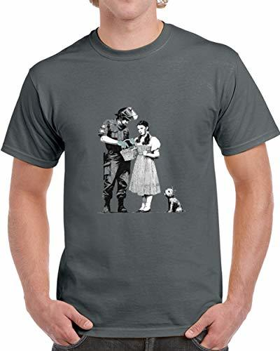 Tremendous Designs Dorothy and Police Bansky T Shirt L Charcoal Grey