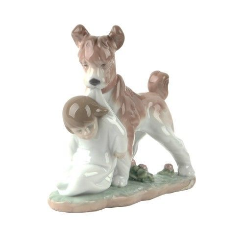 """Lladro #6556 """"Safe and Sound"""" Dog Guarding Young Boy Retired Piece! - $118.80"""