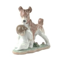 "Lladro #6556 ""Safe and Sound"" Dog Guarding Young Boy Retired Piece! - $118.80"