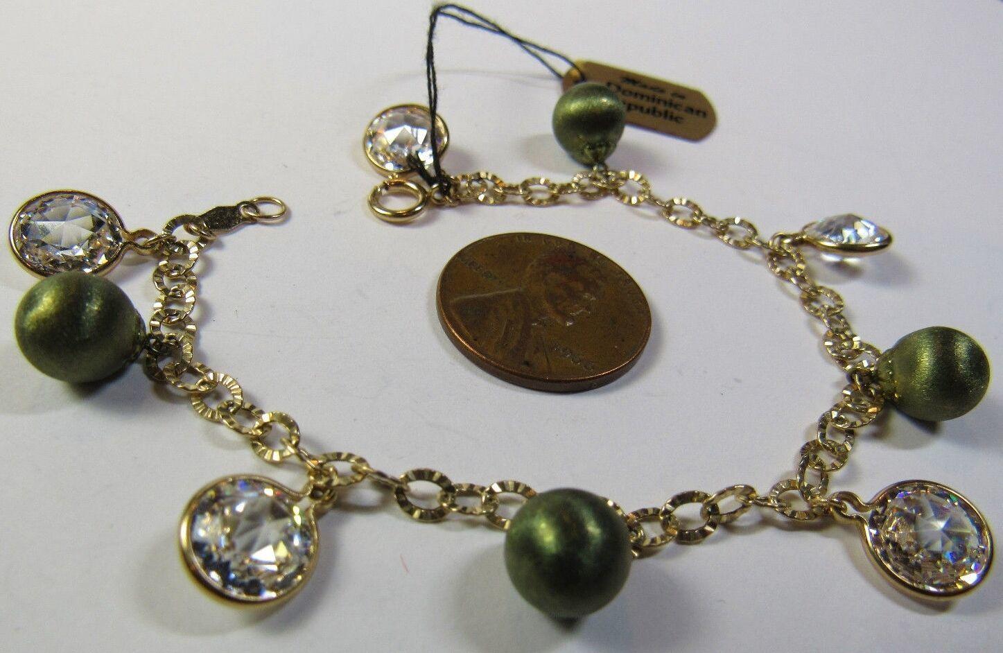 "QVC JCM Jacmel 14K GREEN YELLOW Gold Cubic Zirconia CZ Smaller 6.5"" Bracelet"