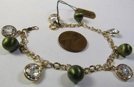 "QVC JCM Jacmel 14K GREEN YELLOW Gold Cubic Zirconia CZ Smaller 6.5"" Bracelet image 1"