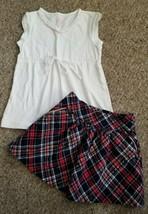 GYMBOREE Sparkly Red Plaid Skirt JILLIANS CLOSET White Top Girls Size 5-6 - $6.79