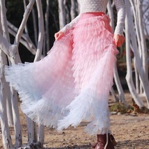 Women Maxi Tiered Tulle Skirt Outfit Plus Size Pink Blue Romantic Party Outfit image 6