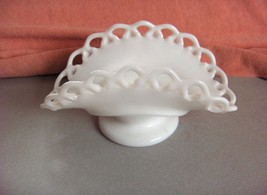 Vintage Small Glass White Milk Glass Lace Edge Footed Banana Boat - $44.55