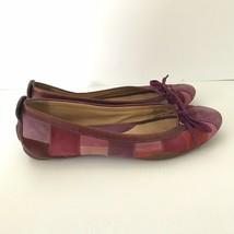COACH Pink Purple JENILEE Suede Patchwork Mosiac Ballet Flats Womens Sz ... - $33.59