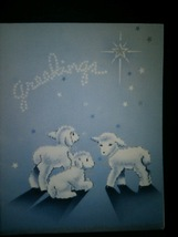 Baby Lambs on Blue Vintage Christmas Card - $4.00