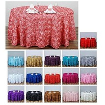 """120"""" Rose Pattern Round Tablecloths For Wedding Party Banquet Events Dec... - $76.23"""