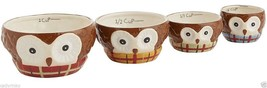 Pier 1 Chilly Billy Owl Nesting Measuring Cups 4 Piece Dolomite Ceramic Set - $24.75