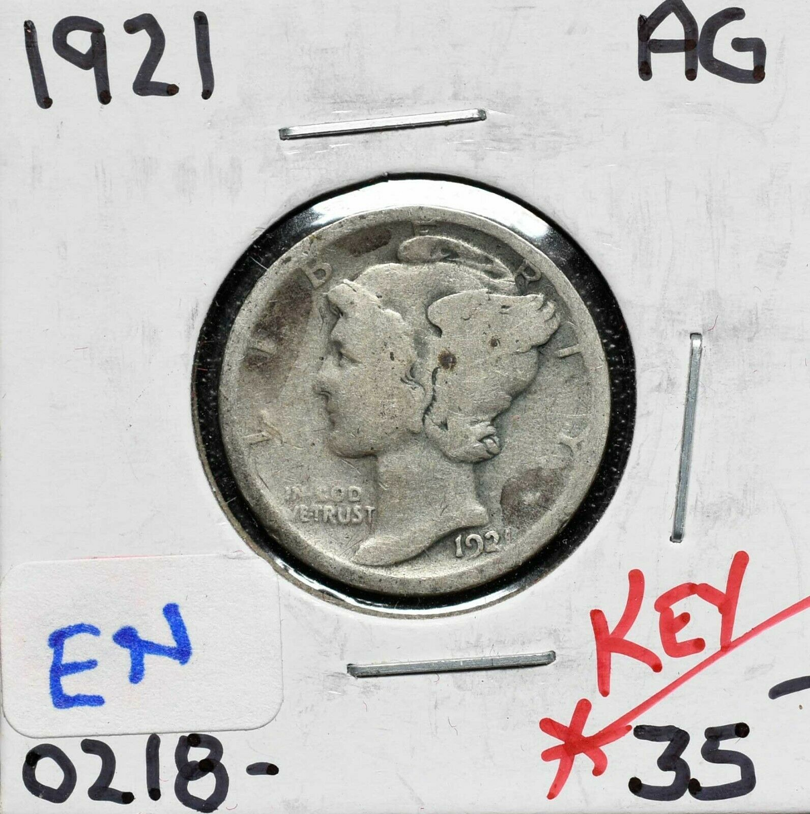 1921 Silver Mercury Dime 10¢ Coin Lot# A 600