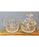 "Clear Glass Cream and Sugar with Lid 4"" Petal - $18.00"