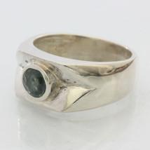 Light Blue Green Natural Sapphire Handmade Silver Unisex Gents Ring size 9.75 - £72.08 GBP