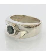 Light Blue Green Natural Sapphire Handmade Silver Unisex Gents Ring size... - $94.05