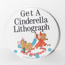 Walt Disney World Cinderella Mice Button 1988 3in Jaq Gus Cast Member Pi... - $49.99