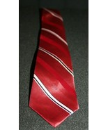 Christian Dior Red White Black Striped Men's Neck Tie Made in USA - $19.95