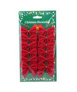 12 Pcs Mini 6cm Christmas Charms Decoration Ornaments Ribbon Bows Red - $6.89