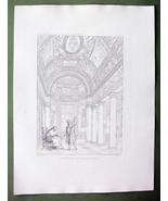 ARCHITECTURE 2 PRINTS : Italy Rome Vatican Interior & Plan of Villa Pia - $22.95