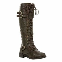 Wild Diva Womens Timberly-65 Lace Up Knee High Boots Cognac - $39.83