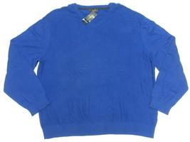 $75 NWT Mens Club Room Textured Diamond Knit V-Neck Sweater Blue Sz XXL ... - €21,40 EUR