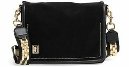 Marc Jacobs the Squeeze Lg Shoulder Messenger Bag in Black Italian Suede... - $237.59