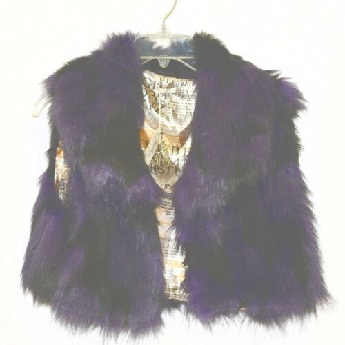 Riflessi Collection Premium Edition WFV11 Small Purple Black Faux Fur Vest