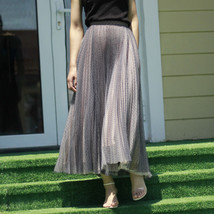 Women Full Pleated Long Skirt Pleated Tulle Tutu Skirt Party Tulle Outfits Plus  image 7