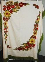 "Vintage Yarn Embroidered Tablecloth Wool - 68"" x 52"" Rectangle Floral Fr... - $49.50"