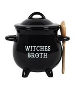 Witches Broth Cauldron Ceramic Bowl with Broom Spoon - $18.80