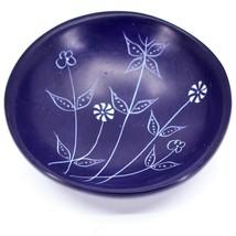 Tabaka Chigware Handmade Soapstone Dark Blue Spring Flower Trinket Bowl Kenya