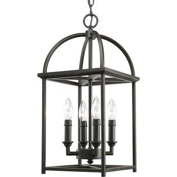Primary image for Progress Lighting P3884-126 4-Light Piedmont Foyer Lantern, Burnished Silver