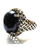 ATR Sterling Silver 925 Black Onyx oval stone weaved design Ring size 7.5 - $54.70