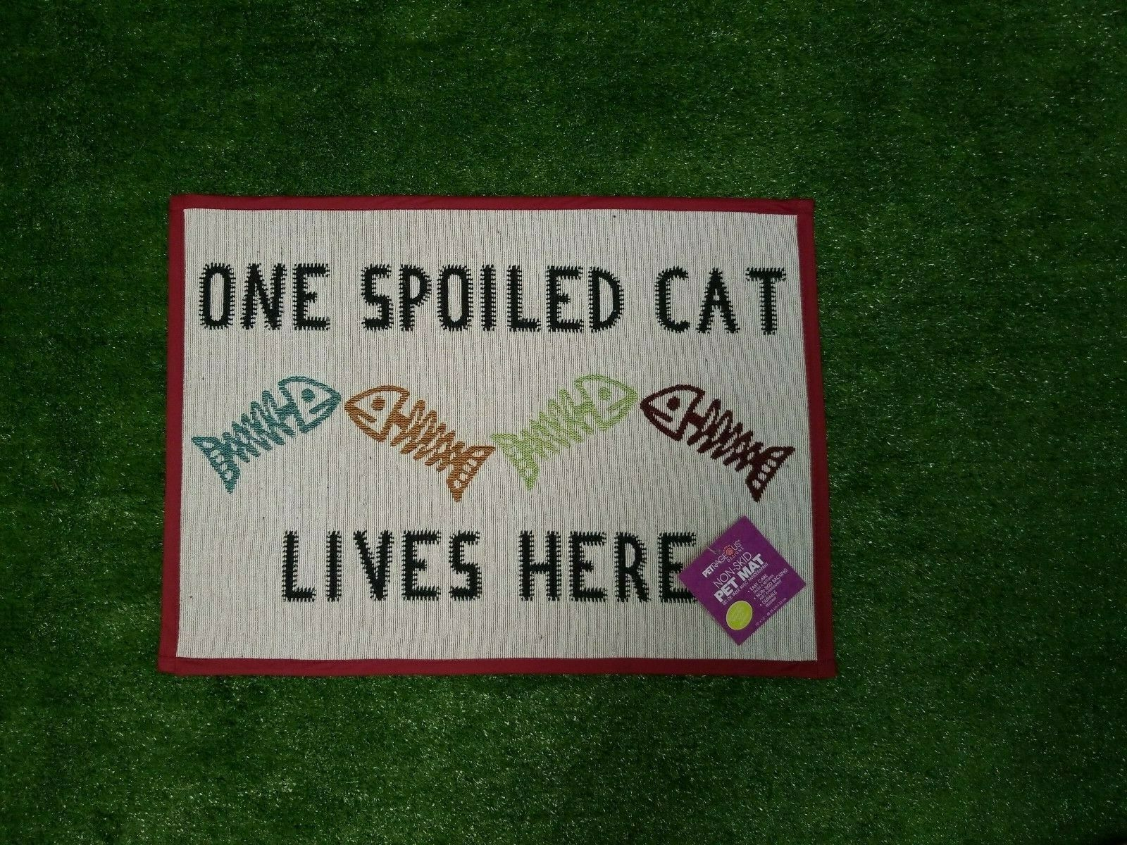 "Primary image for Spoiled  Cat Tapestry Feeding Placemat Multi Colored 13"" x 19"" Machine Washable"
