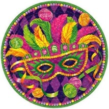 "Mardi Gras Masquerade 9"" Lunch Plates 8 ct Tableware - $4.55"
