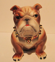 Bulldog Cookie Jar Airbrush and Accented in 14K Gold - $49.98