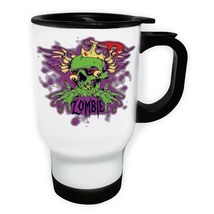 Zombie La Muerte Brains Skulll White/Steel Travel 14oz Mug x363t - $17.79