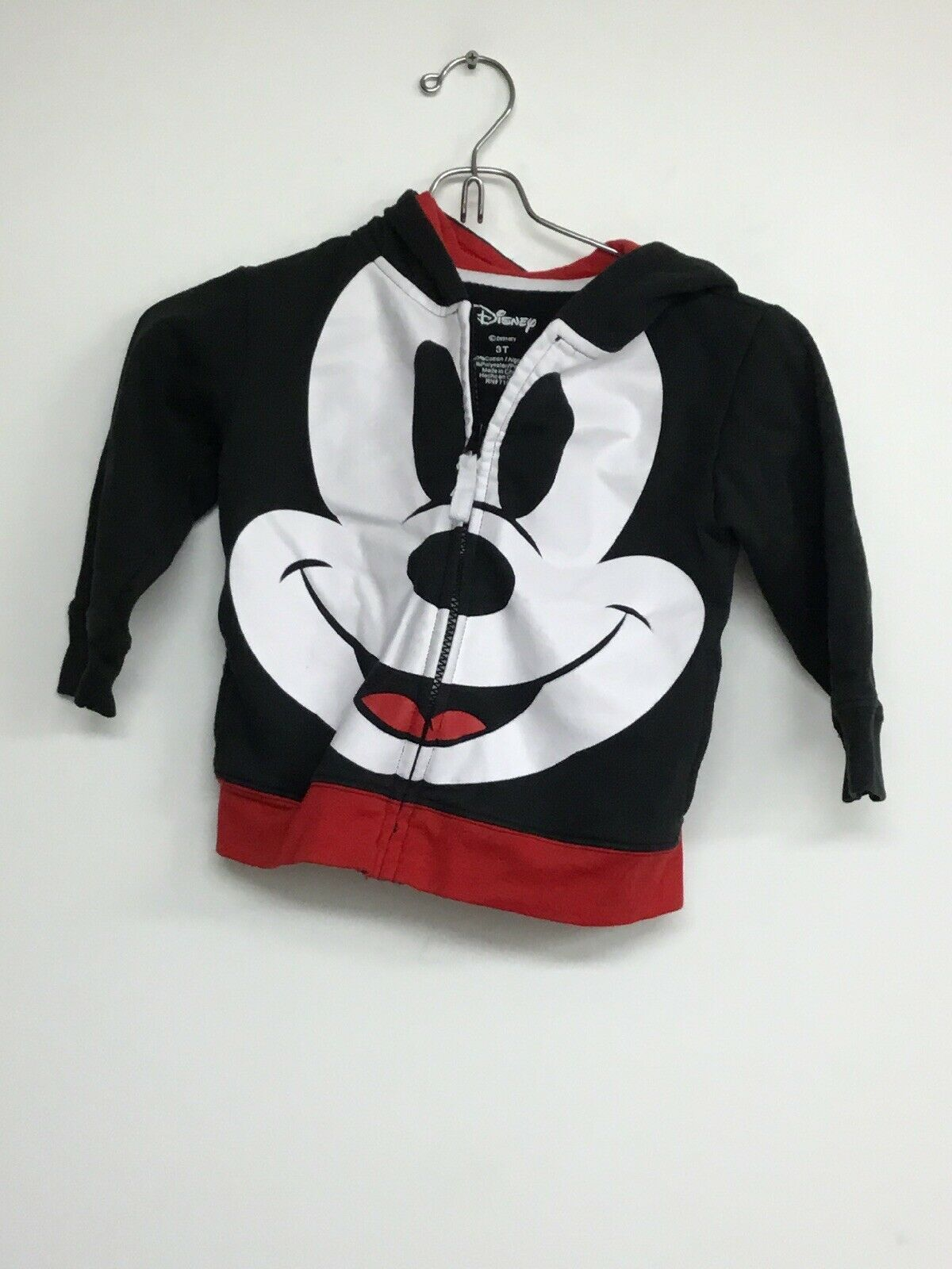 Primary image for Disney Mickey Mouse Full Zip Hoodie, With Mickey's Face On Front, 3T Black/Red