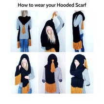 Handmade hooded scarf Long fringe scarf Hand knit scarf Knitted winter s... - $69.00