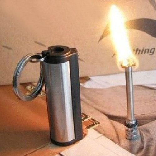 Survival Camping Hiking Emergency Fire Starter Flint Match Lighter KeyChain - Bl