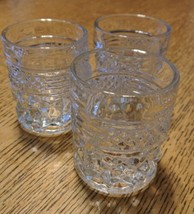 3 Anchor Hocking WEXFORD Shot Glasses Toothpick  Set Of Three 1960's Art... - $10.95