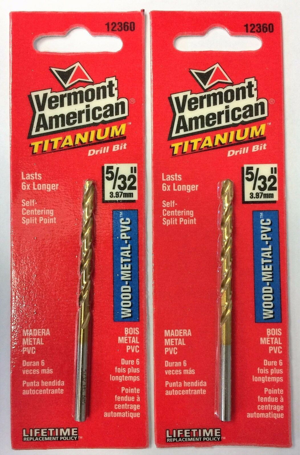 "Primary image for Vermont American 5/32"" Titanium Split Point Drill Bit 12360 2PCS"
