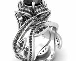 3.40Ct Round Cut Black Diamond 925 Sterling Silver Lotus Engagement Wedding Ring - €103,67 EUR
