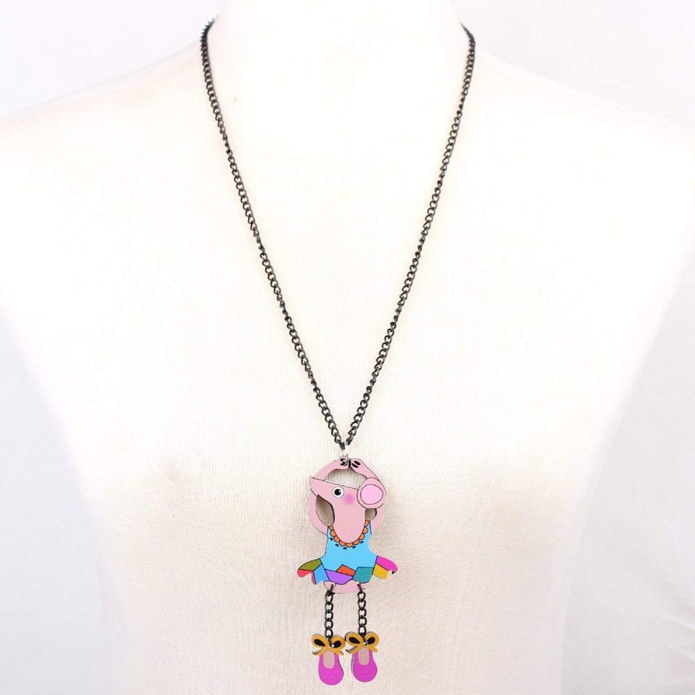 dance mouse necklace pendant acrylic  2015 news accessories spring summer cute d image 5