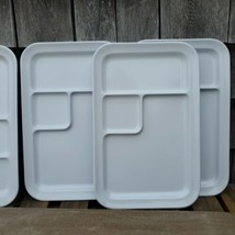 4 Oneida Food Trays Plates White Divided Dishes Plastic Camping Cafeteria Plate  - $14.99